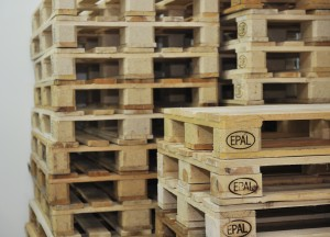 wooden palettes in warehouse