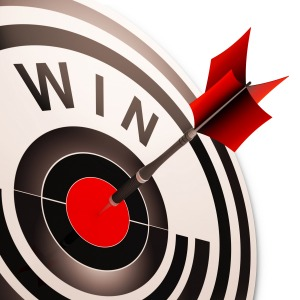 Win Target Showing Successes Winner, Progress And Victory